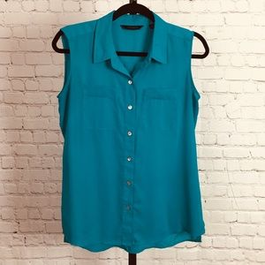 Investments Sleeveless Button-Down Blouse